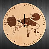 "BorschToday Handmade Modern Wood Wall Clock - Get Unique Home Room or Office Wall Decor - Gift Ideas for Men and Women ??"" Gym Barbell Unique Art Design"