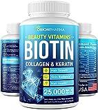 Biotin Keratin & Collagen Capsules - Made in USA - Natural Fish Collagen, Keratin & Biotin for Hair Growth - Biotin & Collagen Vitamins with Multi Collagen Peptides for Hair Loss, Skin & Nails