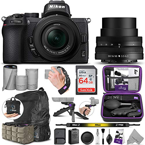 Nikon Z50 Mirrorless Digital Camera with 16-50mm Lens with Altura Photo Advanced Accessory and Travel Bundle