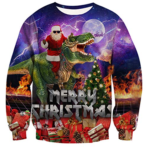 Freshhoodies Unisex 3D Dinosaurio y Santa Claus Impreso Feo Navidad Suéter Jumper Cuello Redondo Manga Larga...