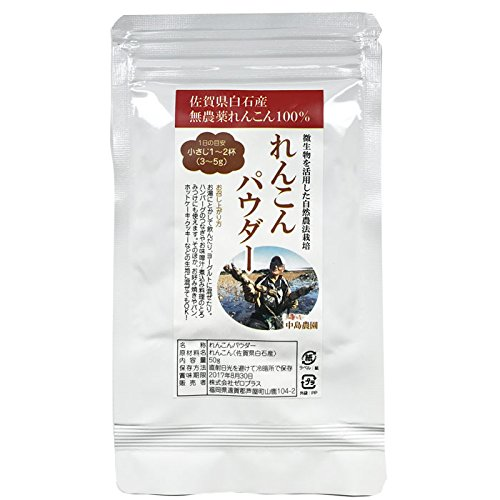 れんこんパウダー 佐賀県白石産 無農薬レンコン100% 粉末 無農薬 無添加 無着色 50g