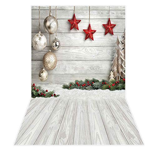Allenjoy 3x5ft White Wood Christmas Party Photography Backdrop for Portrait Soft Fabric Winter Snow Wooden Floor Xmas Background Newborn Baby Shower New Year Party Banner Decors Photo Studio Props