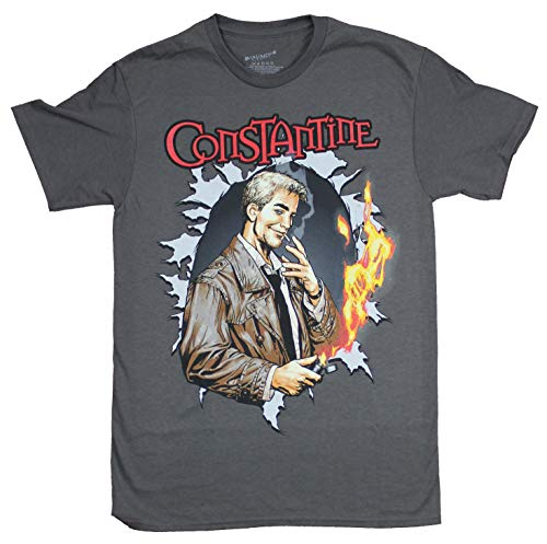 Constantine Mens T-Shirt - John Constantine Burns a Hole Right Through (XX-Large) Gray