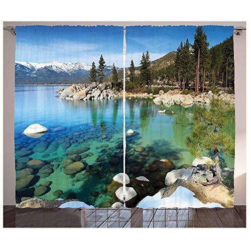 MUXIAND Lake Tahoe Curtains Scenic Places bergen met sneeuwvels in Lake California Summer Living Room Slaapkamervenster