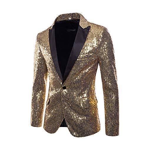 SUVIA Herren Pailletten Sakko Glitzer Smoking Jacke Shiny Pailletten Anzug für Nachtklub, Hochzeit, Partei (Gold, XL)
