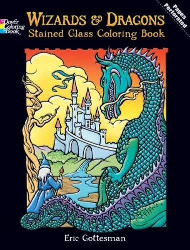 DOVER PUBLICATIONS Stained Glass Color Book Wizards And Dragons (427706)