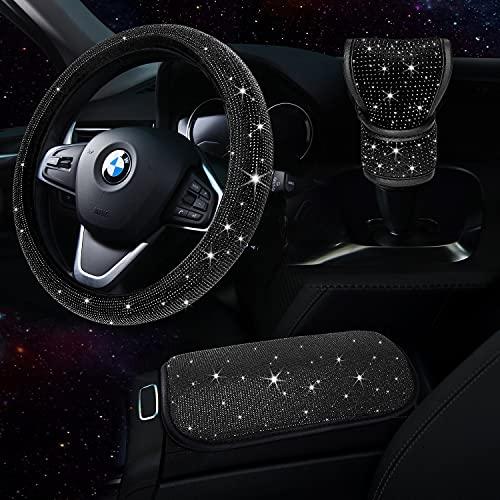 TZARROT Bling Car Accessories set for Women, Bling Steering Wheel Cover for Women Universal…