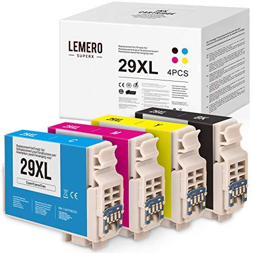 LEMERO SUPERX 29 XL Tintenpatronen für Epson 29XL T2991-4 für Expression Home XP-235 XP-240 XP-245 XP-247 XP-330 XP-332 XP-335 XP-340 XP-342 XP-345 XP-430 XP-432 XP-435 XP-440 XP-442 XP-445(B/C/M/Y)