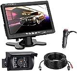 Kit Telecamera Per Retromarcia Auto con 7 Pollici Monitor LCD, 12 V-24 V Assistenza al Parcheggio, Telecamera di Backup Kit IP67 Impermeabile ,18 LED per Visione Notturna