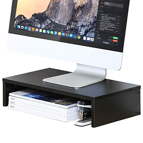 FITUEYES Monitor Stand - Computer Monitor Riser, Wood Desktop Stand for Laptop TV Computer Screen, Desk Organization, Office Supplies, Black, DT104201WB