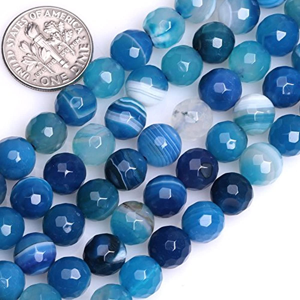 GEM-inside Blue Banded Agate Gemstone Loose Beads Natural Energy Power Beads For Jewelry Making Round Faceted 8mm 15
