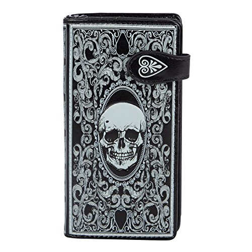 SHAGWEAR ® Portemonnaie Geldbörse Damen Geldbeutel Mädchen Bifold Mehrfarbig Portmonee Designs: (Totenkopf Schwarz/Skull Card Black)