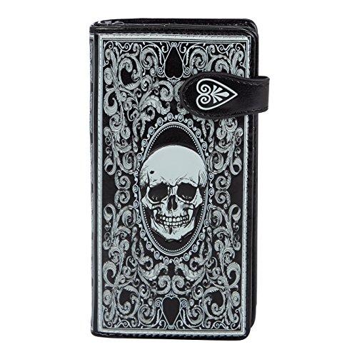 SHAGWEAR ® Portafoglio Donna Pelle Sintetica Portamonete, Chiusura Con Cerniera Portafogli - Teschio/Skull Card Blk