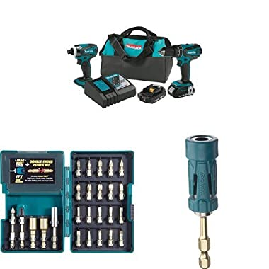 Makita XT273R 18V LXT Lithium-Ion Compact Cordless 2-Pc. Combo Kit (2.0Ah) with Impact Gold Torsion Bit Set (26 Piece) and Ultra-Magnetic Torsion Insert Bit Holder