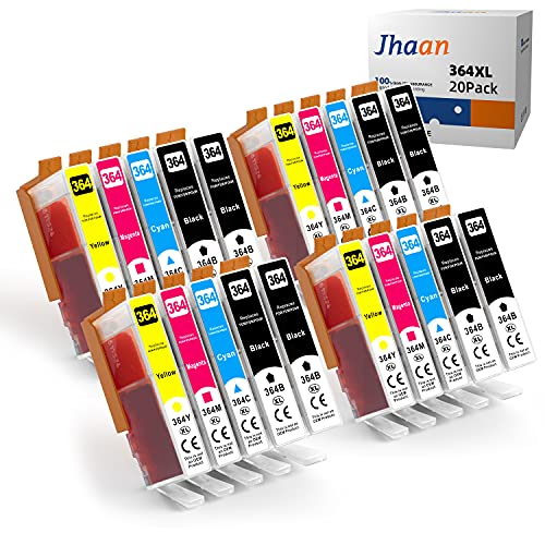 Jhaan Cartuchos de impresora 364XL para HP 364XL, compatibles con HP Deskject 3520 3070 Photosmart 5510 5524 7510 6510 6520 Officejet 4620 4622 (8 negro, 4 cian, 4 magenta, 4 amarillo, 20 unidades)