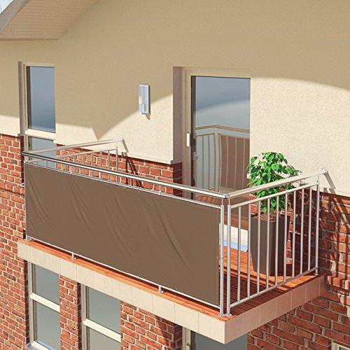 BALCONIO Balkon Sichtschutz wasserabweisend Balkonbespannung Balkonabdeckung für Balkon Terrasse aus Polyester-300 x 85 cm-Braun