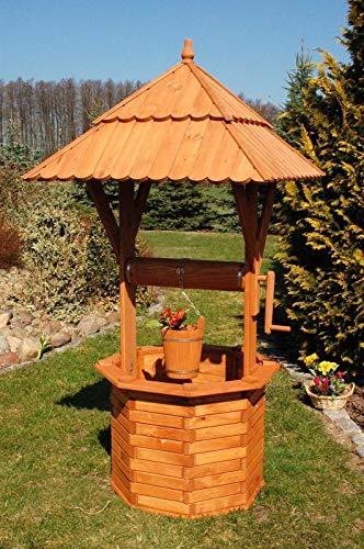 XXL Holzbrunnen 190 cm Gartenbrunnen imprägniert massiv Garten Deko Zierbrunnen