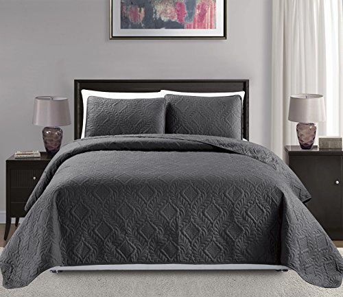 Mk Collection Diamond Bedspread Bed-Cover Embossed Solid Over Size New (King/California King, Dark Grey/Charcoal)