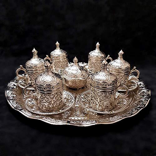 Ottomane Turkish Silber Messing Tee Kaffee Untertasse Tassen Tablett Set - Top UK Verkäufer _ Set B