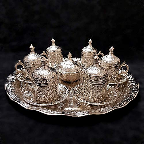 Ottomane Turkish Silber Messing Tee Kaffee Untertasse Tassen Tablett Set - Top UK Verkäufer Set B