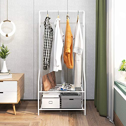 Garment Rack Heavy Duty Clothes Rack Commercial Grade Rolling Organizer with 2 Shelves for Office Home White