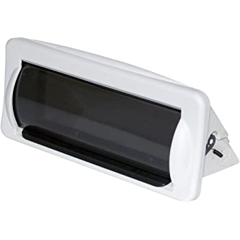 Water Resistant Marine Stereo Cover - Smoke Colored Heavy Duty Boat Radio Protector Shield with Flip-up Door & Spring Loaded Release - Mounting Gasket Included - Pyle PLMRCW2,White