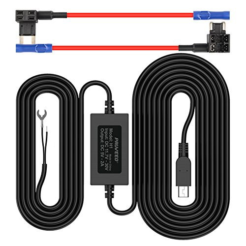 Pruveeo Hard Wire Kit for Dash Cam with 2 Fuse Tap Cable, Mini USB Port, 12V to 5V, DC 12V – 30V Car Charger Cable Kit