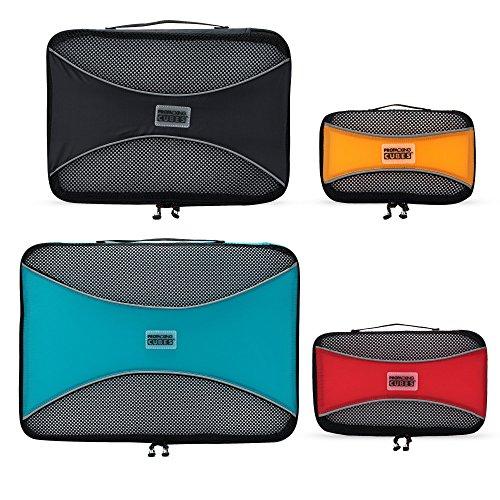 PRO Packing Cubes | Set Convenienza 4 Pezzi Packing Cube da viaggio | Risparmio dello spazio in valigia del 30% | Organizer ultra leggeri per bagagli | Ottimi per borsoni, bagagli a mano e zaini