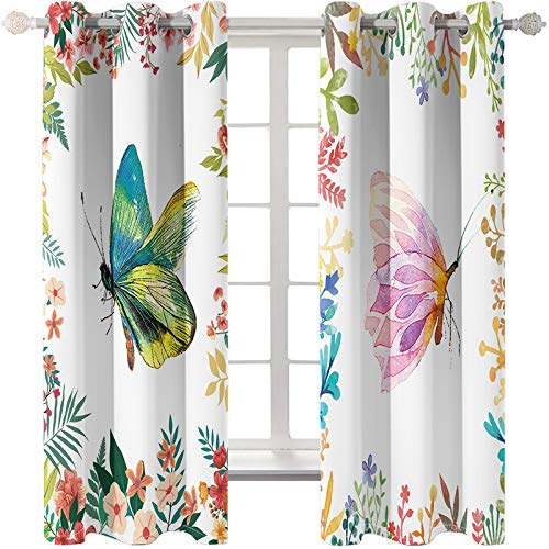 MMHJS Color Printing Decorative Curtains Fashion Personality Home Decoration Superfine Fiber Washable Curtains 2 Pieces