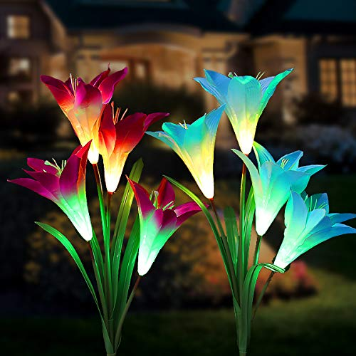 Solar Lights Outdoor Garden, Tvird 2 Pack Solar Flower Lights with Multi-Color Changing Solar Garden Lights with Bigger Lily Flower and Wider Solar Panel for Garden Patio Decoration(Blue&Purple)