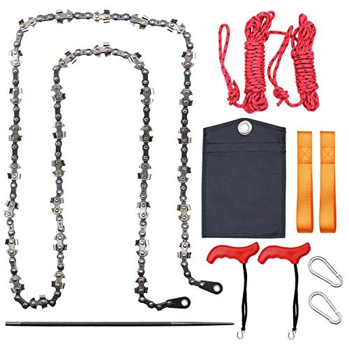 BLIKA 53 Inch High Tree Limbs Hand Rope Chain Saw, 68 Sharp Teeth-Blades on Both Sides, Includes Rope and Throwing Weight Pouch, Folding Pocket Chain Saw for Camping, Field Survival Gear