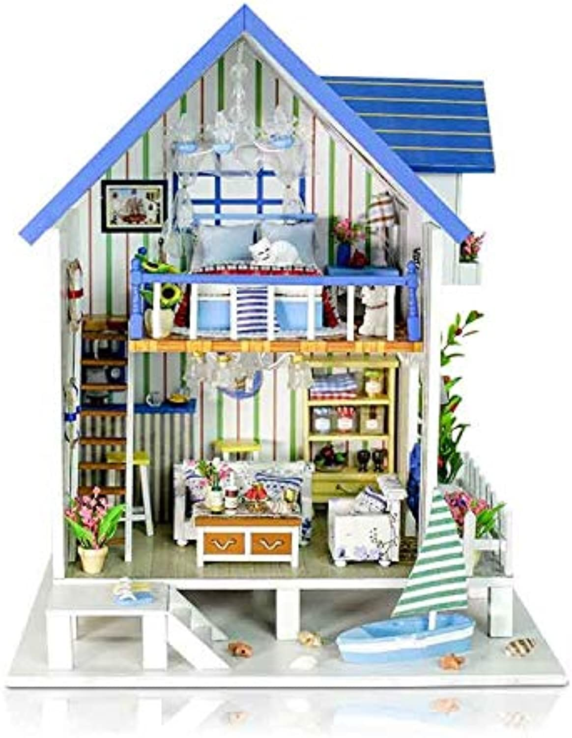 DIY Doll House Wooden Doll Houses Miniature DIY Handmade Dollhouse Furniture Kit Room Led Lights Kids Birthday Gifts 23  19  28cm