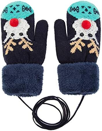 Fashion Thick Women Gloves Warm Ladies Knitted Cotton Winter Gloves Women's Accessories Xmas Gift Mittens for Girl - (Color: Navy Blue 1)