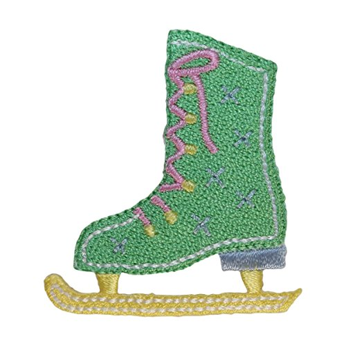 ID 1468 Figure Skate Patch Ice Skating Blade Girls Embroidered Iron On Applique