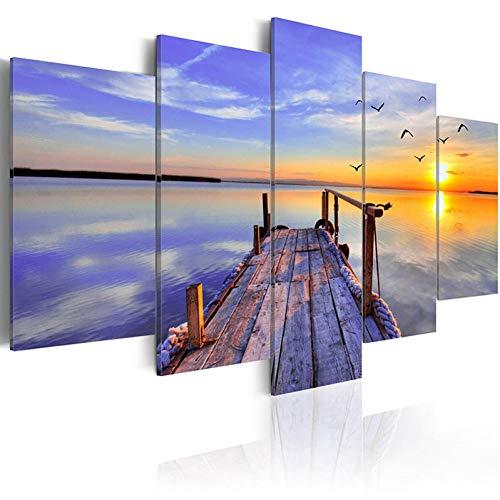 TIANJJss 5 foto's op canvas met moderne kunst van de muur 5 stuks vliegende vogel mooie hemel zonsondergang schildersezel van hout landschap zee transparant canvas schilderij huisdecoratie