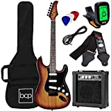 Best Choice Products 39in Full Size Beginner Electric Guitar Starter Kit w/Case, Strap, 10W Amp, Strings, Pick, Tremolo Bar - Bourbon