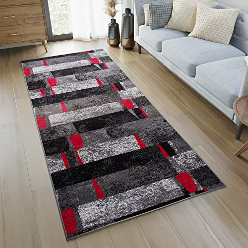 Teppich/Läufer für Flur, modern, Kollektion Twist–Farbe Anthrazit Grau Rot Motiv quadratisch–Beste Qualität–Größen S-XXXL 80 x 200 cm Schwarz