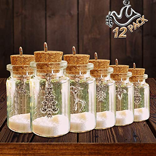 Christmas Ornaments - Set of 12 DIY Xmas Miniature Charm Glass Bottle - Home Farmhouse Rustic White Navidad Holiday Tree Decorations