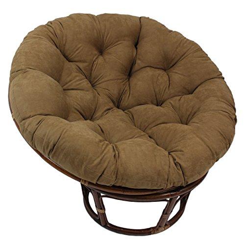 Blazing Needles Solid Microsuede Papasan Chair Cushion, 44' x 6' x 44', Aqua Blue