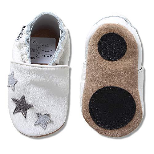 HOBEA-Germany Baby Lauflernschuhe Sterne mit Anti-Rutsch-Pads, Kinder Hausschuhe, Lederschuhe, Design: weiß mit 3 Sternchen grau, Größe 18/19 (6-12 Mon)