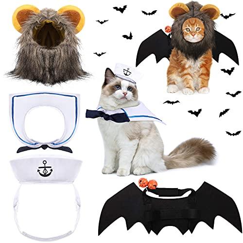 3 Disfraces de Halloween de Gato Mascota Sombrero de Disfraz de Marinero de Mascotas Disfraz de Melena de León Peludo de Mascotas Alas de Murciélago Mascota con Campana para...