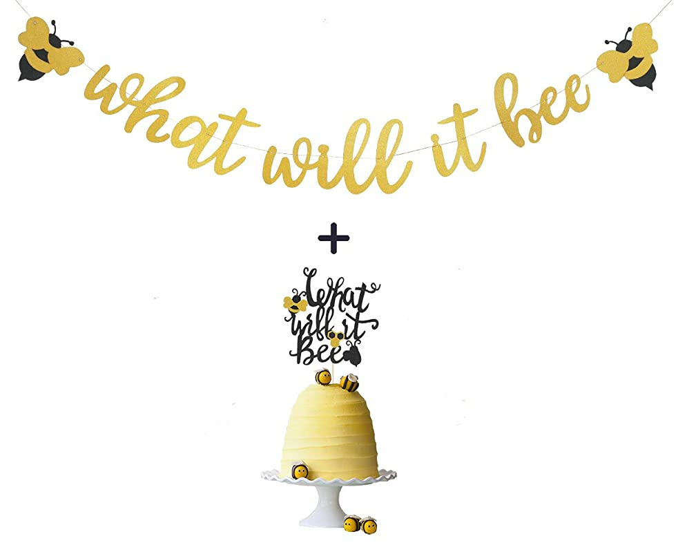 What Will It Bee Banner and Gold Glitter What Will It Bee Banner Cake Topper for Bumble Bee Themed Gender Reveal Party Baby Shower Supplies by Topfun