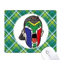南アフリカ共和国の旗の顔の化粧キャップ 緑の格子のピクセルゴムのマウスパッド