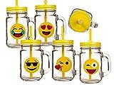 BICCHIERE emoticon vaso conserve manico coperchio cannuccia aperitivo cocktail