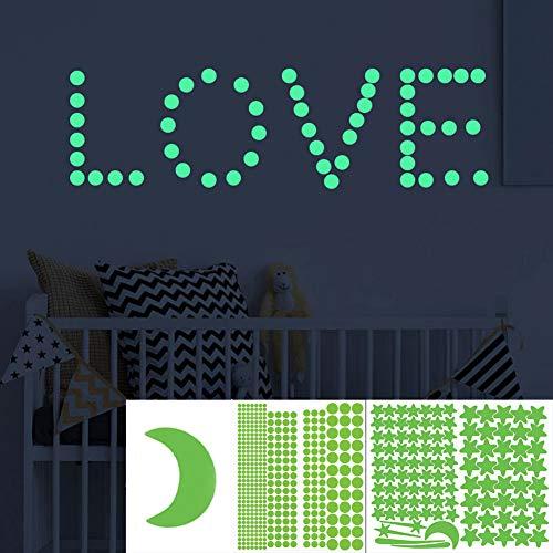 YFOX 515PCS Adesivi luminosi Stelle autoluminose in nero Adesivi riflettenti ultra durevoli Adesivi fluorescenti per decorazione e orientamento Pareti per scuola materna
