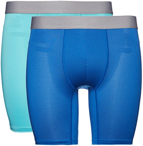 Amazon-Marke: find. Boxershorts Herren atmungsaktiv, aus Stretch-Material, 2er Pack, Blau (Turquoise/Worker Blue), X-Large