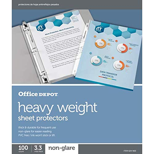 Office Depot Heavyweight Non-Glare Sheet Protectors, 8 1/2in. x 11in, Clear, Pack of 100, 97124