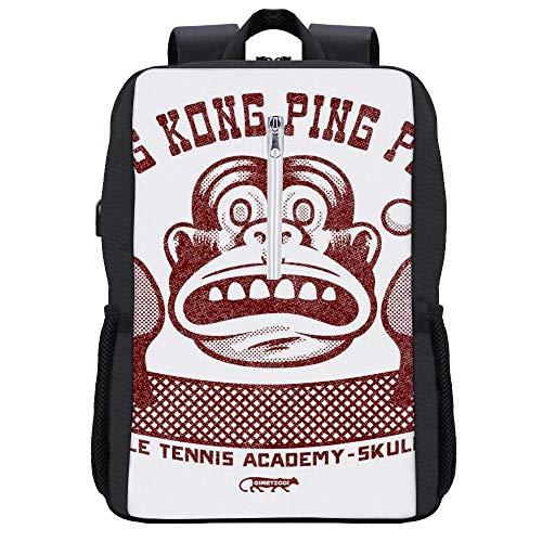 King Kong Ping Pong Rucksack Daypack Bookbag Laptop Schultasche mit USB-Ladeanschluss
