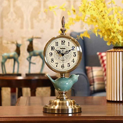 Orologio da tavolo da tavolo, orologi da mensola retrò, metallo silenzioso / vetro artistico Orologi da scrivania e mensole Creativo comodino Muto Orologi da tavolo al quarzo Decorazione della casa