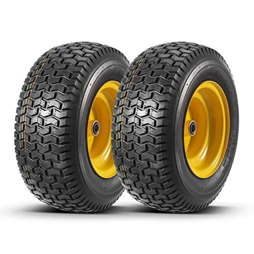 """2 Pcs 16x6.50-8 Front Tires and Wheels Assembly for Lawn Mower Tractors, 3"""" Centered Long Hub with 3/4"""" precision ball bearings"""